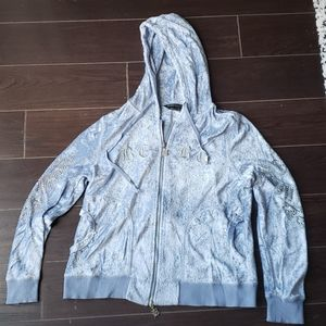 BCBG ice blue velour sweatshirt